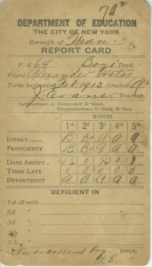 Report Card of Alexander Hatos, 1913, in the Ephemera Collection. Museum of the City of New York. 96.32.5.