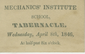 Admission card to Mechanics' Institute School, 1846, in the Ephemera Collection. Museum of the City of New York. F2012.18.239
