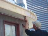 Jim fairing joints at soffit and fascia.