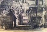 A. B. Waub.  Oyster Stands in Fulton Market.  South Street Seaport Museum, Print Collection.