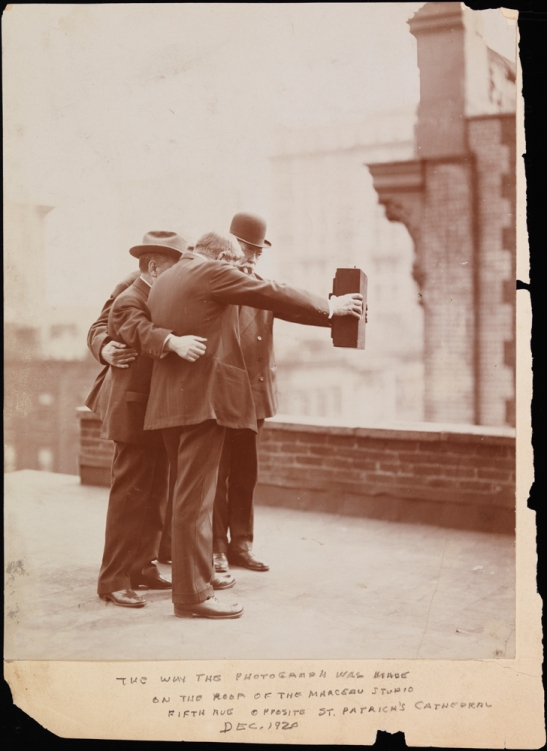 Byron Company, Side view of Byron Co. photographers posing together for a photograph on the roof of Marceau's Studio, 1920. Museum of the City of New York, 93.1.4.18.