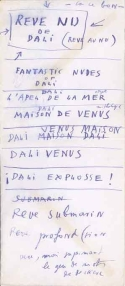 "List of titles on St. Moritz Hotel envelope,  ""Dream of Venus"" pavilion for Amusement Zone, ca 1939.  Queens Museum of Art. Queens Museum of Art,  from the Jean Farley Levy                 Queens Museum of Art, from the Jean Farley Levy  and Julien Levy Estate, partial gift of Eric Strom (2004.2.15)"