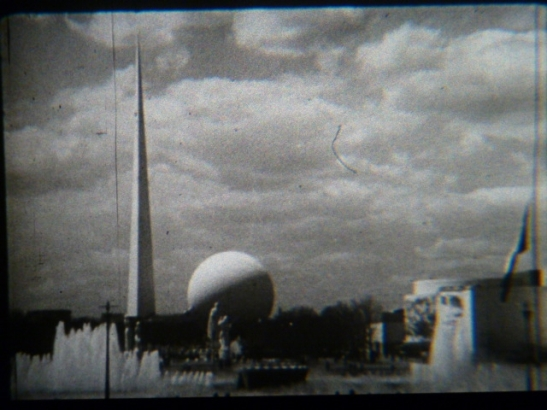 Screen capture from a 1939 newsreel, 1939. Queens Museum of Art. Gift of Charles Locasto, 1987.1.2WF39