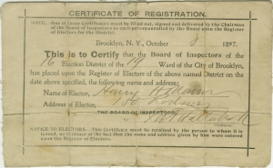 Certificate of Registration, 1897, in the Politics and Government Collection.  Museum of the City of New York. 38.176.