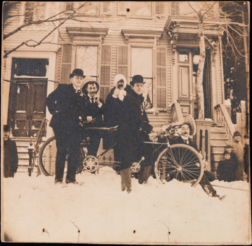 Unknown. Bicycle in the snow, C. W. Hadley at the handlebars. 1898. Museum of the City of New York. X2010.11.13336