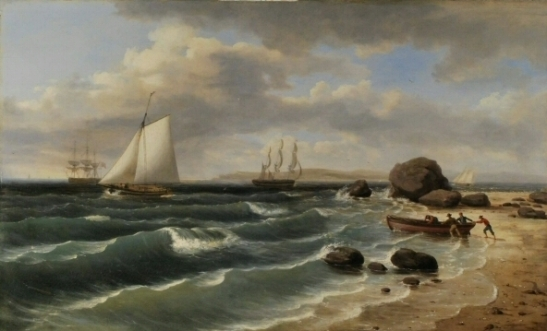 AfterThomas Birch (1779-1851). View of Staten Island from Sandy Hook. 1827. Museum of the City of New York. 33.306.2