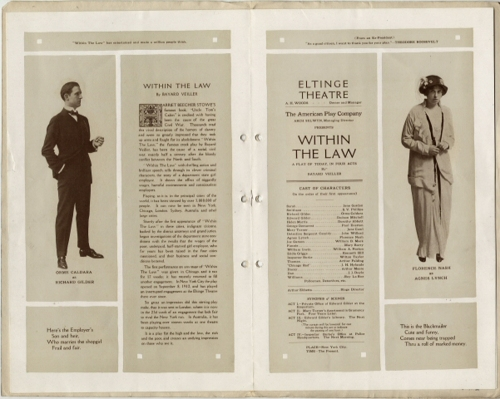 "Souvenir program for ""Within the law"". 1913. Museum of the City of New York. F2013.41.2"