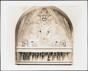 608 Fifth Avenue. Goelet Building. Detail of metalwork over entrance. 1931. Museum of the City of New York. X2010.7.2.4841