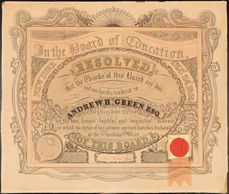Certificate from  New York Board of Education Honoring Andrew Haswell Green. 1857. 2011.5.12