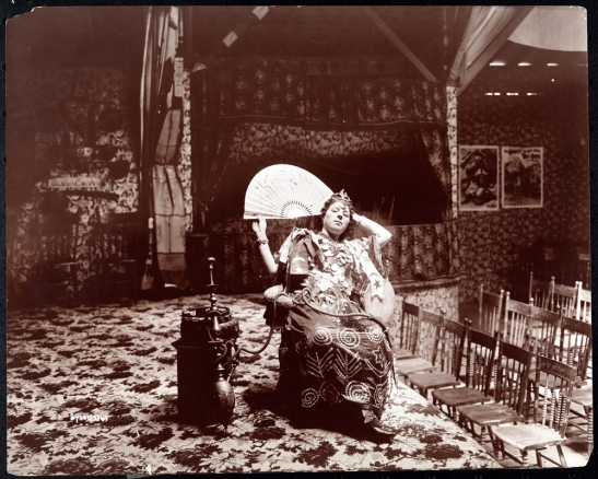 Woman gypsy/dancer seated in her side-show theatre at Coney Island.