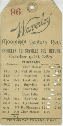 Waverley Moonlight Century Run, 1897, in the Collection on Sports. Museum of the City of New York. 49.300.14