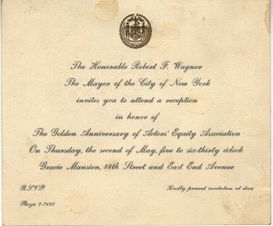 Invitation to Equity's Golden Anniversary reception, 1963. Museum of the City of New York. F2013.50.3