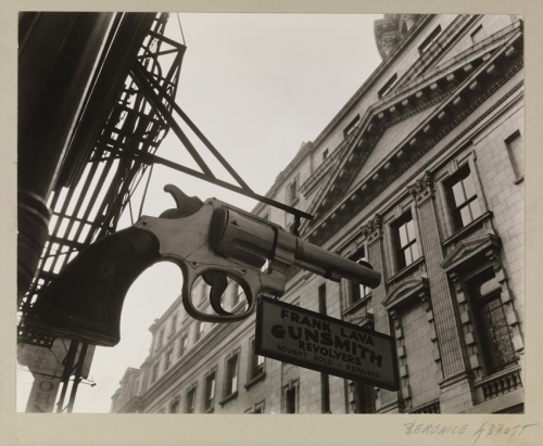 "Berenice Abbott (1898-1991), ""Gunsmith and Police Department,"" 1937. Museum of the City of New York. 49.282.113"