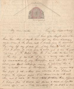 Letter from F. B. Tower to his mother, September 15, 1837, in the Letters Collection. Museum of the City of New York. 2002.33.1