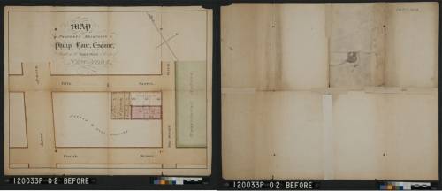 Francis Nicholson (1753-1844). Map of Property belonging to Philip Hone Esquire, Situated in the 9th Ward of the City of New York, 1827 (Before treatment, front and back). Museum of the City of New York. 29.100.3016