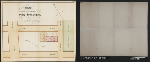 Francis Nicholson (1753-1844). Map of Property belonging to Philip Hone Esquire, Situated in the 9th Ward of the City of New York, 1827 (After treatment, front and back). Museum of the City of New York. 29.100.3016