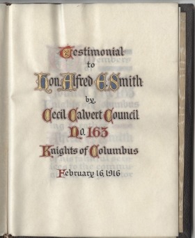 Front page of testimonial presented to Smith by the Knights of Columbus. 1916. Museum of the City of New York.