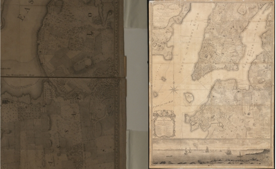 Engraved by Thomas Kitchin. Plan of the City of New York, In North America: Surveyed in the Years 1766 & 1767. Surveyed by Bernard Ratzer. Published by Jefferys & Faden, London, 1776, (Before closeup to left, after to right).  Museum of the City of New York. 29.100.2537