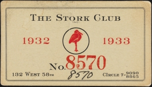 The Stork Club membership card, 1932, in the Collection on Nightlife. Museum of the City of New York. 38.382.17.