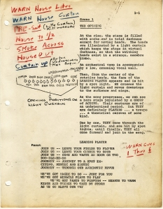 Page one of production script for Pippin by Roger O. Hirson with additions from Bob Fosse. October 23, 1972. Museum of the City of New York. 88.86.14.3