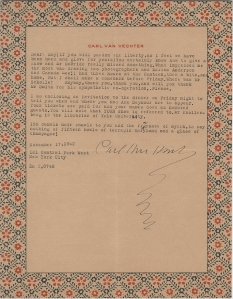Letter from Carl Van Vechten to May Davenport Seymour, November 17, 1942. Museum of the City of New York, Institutional Exhibition Records.