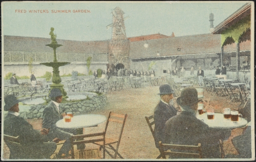 Postcard published by Charles Stock & Co. Lithography.  Fred Winter's Summer Garden, ca.1910.  Museum of the City of New York. X2011.34.3840.