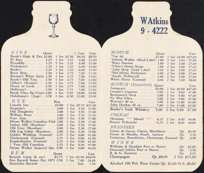 Excerpt from Penrod's price list, ca. 1930, in the Collection on Nightlife. Museum of the City of New York. X2012.102.30.