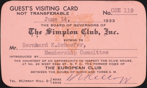 The Simplon Club, Inc. membership card, 1933, in the Collection on Nightlife. Museum of the City of New York. X2012.102.32.