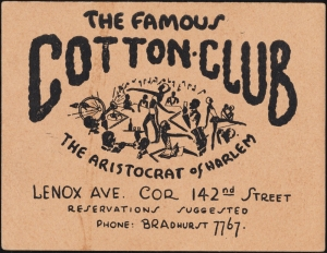 Cotton Club membership card, ca. 1930, in the Collection on Nightlife. Museum of the City of New York. X2012.102.69.