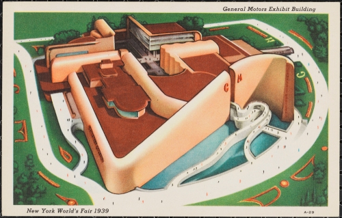 Postcard issued by  Grinnell Lithographic Company, General Motors Building, 1939.  Museum of the City of New York. 88.63.34.