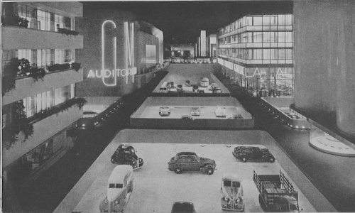"Excerpted image from ""Futurama,"" 1939, in the 1939-1940 New York World's Fair Collection. Museum of the City of New York. 95.156.17"