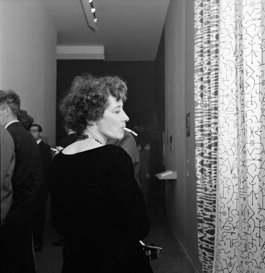 John Vachon, Frank Bauman, Stanley Kubrick, Museum of Modern Art [Art opening.], 1949, Museum of the City of New York, X2011.4.12063.71