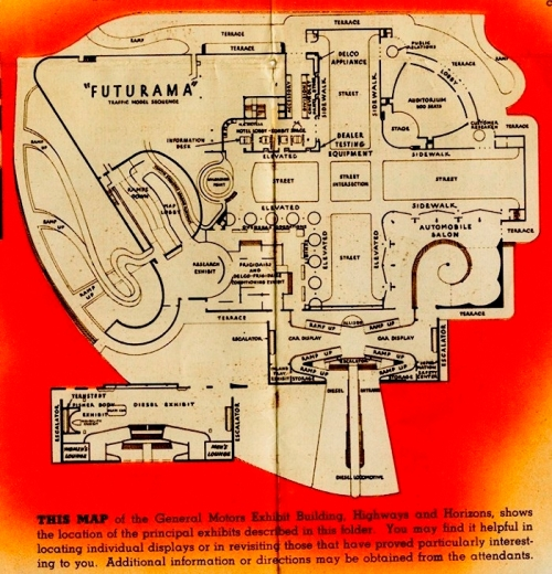 "Excerpted map from ""The General Motors Exhibit Building,"" 1939, in the 1939-1940 New York Worlds Fair Collect.  Museum of the City of New York, 95.156.17."