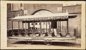 Photograph taken by Waller for the John Stephenson Company. Summer Cars Bowery Bay Beach streetcar, Steinway via Ravenswood & Astoria. ca. 1883. Museum of the City of New York. 44.295.133