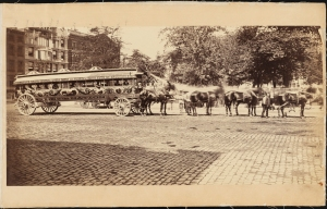 Photograph taken by J. H. Beal for the John Stephenson Company. Omnibuses The Pride of the Nation streetcar in Madison Square. ca. 1875. Museum of the City of New York. 44.295.14