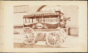 Photograph taken by Waller for the John Stephenson Company. Omnibuses Dunedin City & Suburbs streetcar. ca. 1865. Museum of the City of New York. 44.295.2