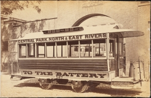 Photograph taken for the John Stephenson Company by unknown photographer. Closed Cars Streetcar No. 147, Central Park, North & East Rivers to the Battery. 1860-1875. Museum of the City of New York. 44.295.234