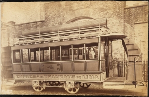 Photograph taken for the John Stephenson Company by unknown photographer. Double-decker Cars Empresa de Tramways de Lima No. 4 streetcar with knifeboard seating on upper deck. ca. 1875. Museum of the City of New York. 44.295.272