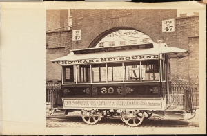 Photograph taken by Waller for the John Stephenson Company. Fare-box Cars Melbourne Tramway & Omnibus Co. Limited No. 30 Hotham & Melbourne streetcar. 1884-1898. Museum of the City of New York. 44.295.28