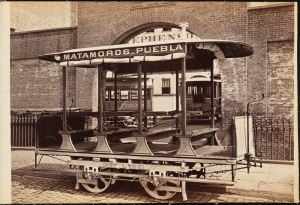 Photograph taken for the John Stephenson Company by unknown photographer. Special Cars Matamoros - Puebla streetcar for second-class passengers. ca. 1880. Museum of the City of New York. 44.295.301