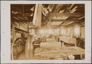 Photograph taken for the John Stephenson Company by unknown photographer. Factory Interior of the John Stephenson Company factory at 47 East 27th Street, cabinet shop. ca. 1889. Museum of the City of New York. 44.295.485