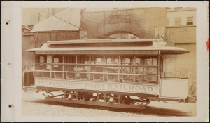 Photograph taken for the John Stephenson Company by unknown photographer. Aisle Cars Irondequoit Park Railroad streetcar, Glen Haven & Irondequoit Bay. 1893-1894. Museum of the City of New York. 44.295.94