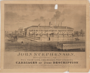 Photolithograph by J. H. Bufford & Co. John Stephenson, Manufacturer of Rail Road Cars, Omnibusses, Post Coaches and Carriages of Every Description. ca. 1837. Museum of the City of New York. 45.293.1