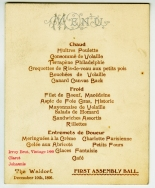 Menu for First Assembly Ball, December 10th, 1896, in the Collection on New York City Society. Museum of the City of New York. 47.229.2.