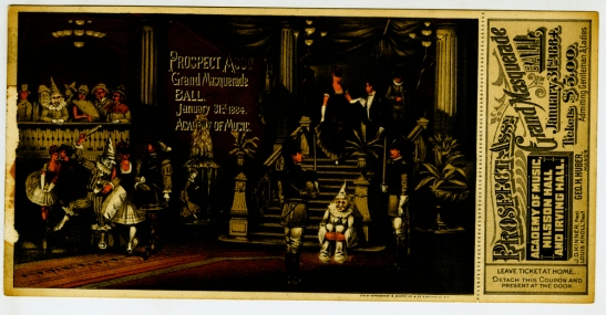 Admission ticket to the Prosepct Association's Grand Masquerade Ball, January 31st, 1884, in the Collection on New York City Society.  Museum of the City of New York. 49.66.51.
