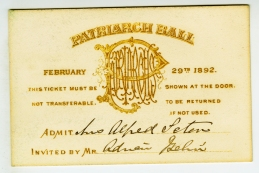 Invitation to the Patriarch's Ball, February 29th, 1982, from the Collection on New York City Society.  Museum of the City of New York. 83.20.2.
