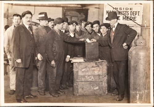 Morse Dry Dock and Repair Company.  Employees Association of Morse Dry Dock and Repair Co. [Voting in the Machine Shop Employees' Association election.] 1919. Museum of the City of New York. F2013.130.7