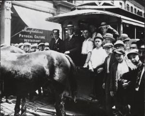 Photographer unknown. Last horse-car trip, Bleecker Street. 1917. Museum of the City of New York Photo Archives. X2010.11.9926