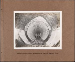 Photographer unknown. Rondout Pressure Tunnel Showing Partial and Total Concrete Lining Catskill System. ca. 1912. Museum of the City of New York. 42.172.35