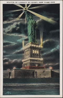 Irving Underhill (d. 1960), Statue of Liberty by Night, New York City, ca. 1930, in the Postcard Collection. Museum of the City of New York. X2011.34.2594.